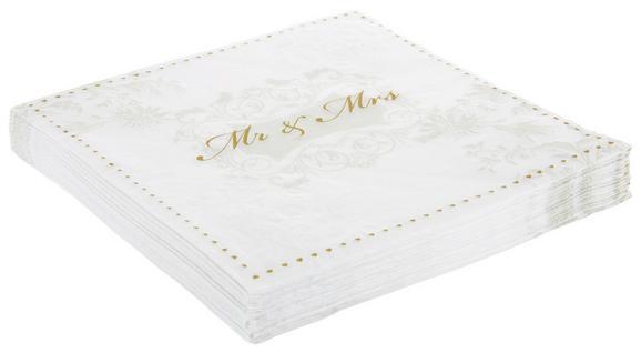 Serviete Mr. & Mrs. Gold - zlata/bela, papir (33/33cm)
