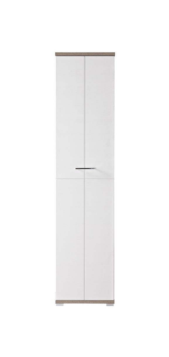 Garderobenschrank in Weiß/Silbereiche - Chromfarben/Weiß, MODERN, Holz/Holzwerkstoff (47/199/39cm) - premium living