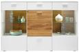 Komoda Arizona - bela/hrast, Moderno, kovina/umetna masa (177/117/42cm) - Premium Living