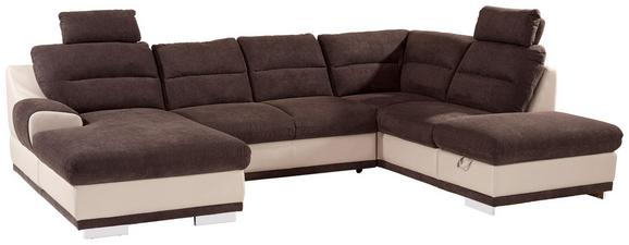 Sedežna Garnitura Seaside - krom/rjava, Konvencionalno, kovina/tekstil (165/334/218cm) - Premium Living