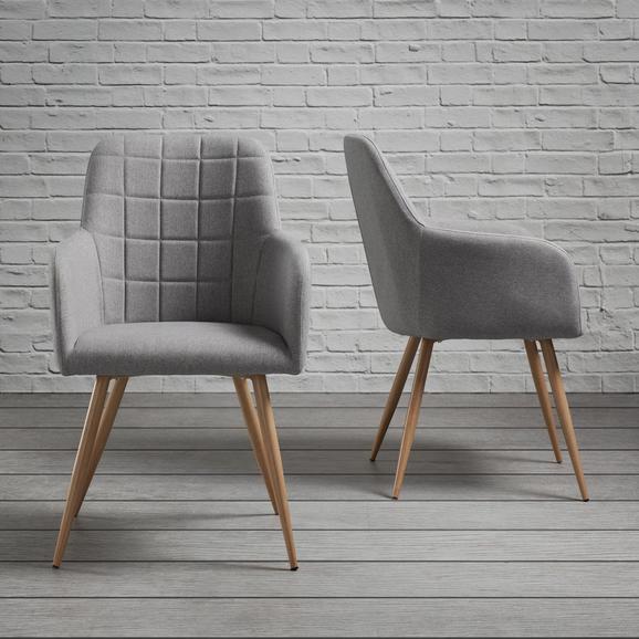 Stuhl Jule - Hellgrau, MODERN, Textil/Metall (57/92,5/46cm) - Modern Living