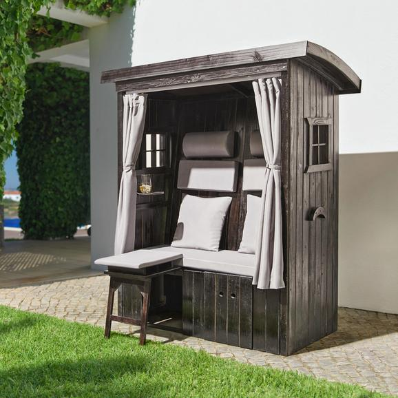 Strandkorb Anton - Hellgrau/Braun, MODERN, Holz/Textil (143/69/79cm) - MÖMAX modern living