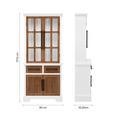 VITRINE aus Kiefer 'Camden' - Weiß/Kieferfarben, MODERN, Glas/Holz (80/177.5/35.5cm) - Bessagi Home