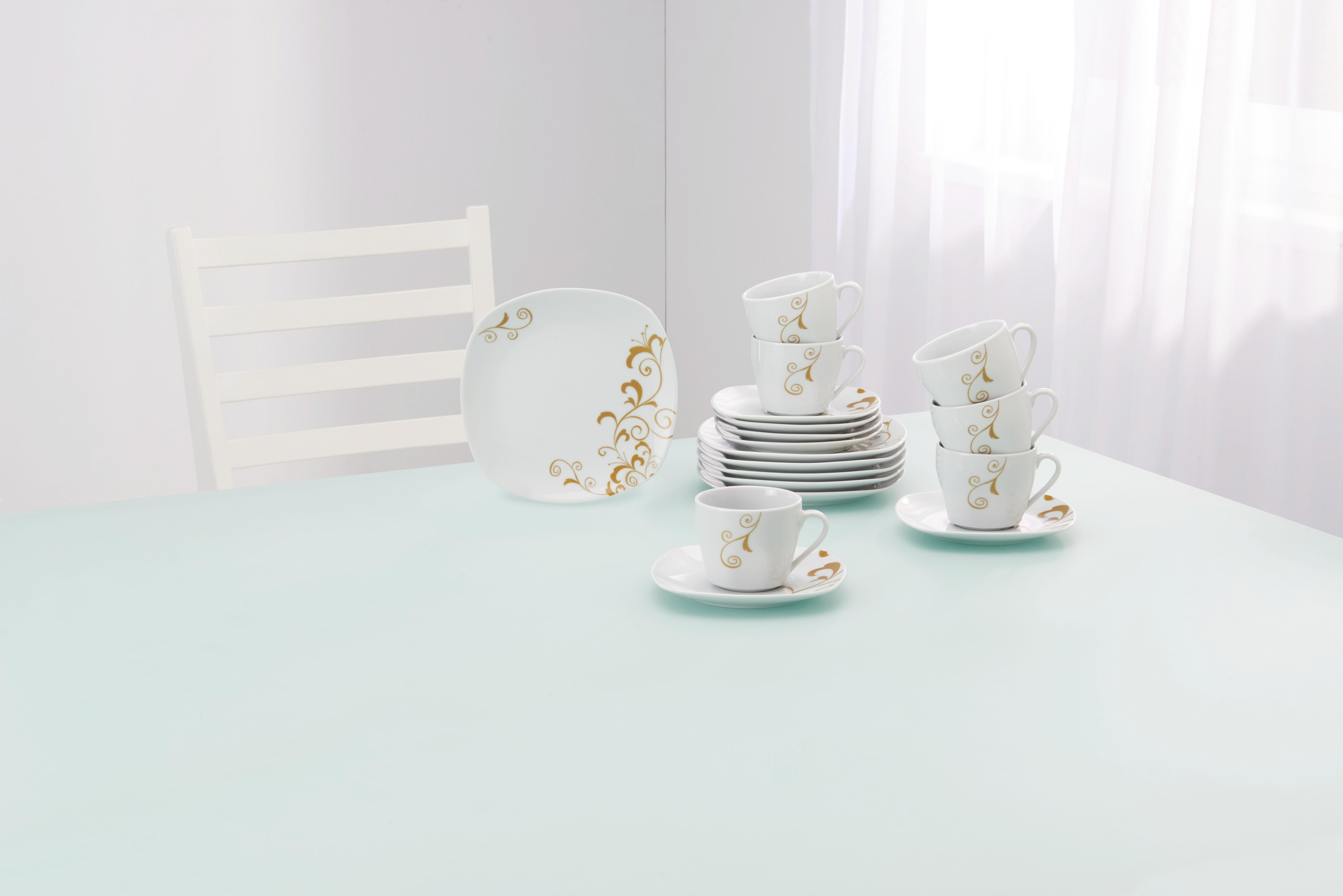 Kávés Szett Glamour - arany színű/fehér, Lifestyle, kerámia (35,2/30,5/9,3cm) - MÖMAX modern living
