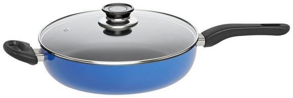Pfanne mit Glasdeckel Tommy aus Aluminium Ø ca. 28cm - Blau/Schwarz, Glas/Kunststoff (28/6,8cm) - Mömax modern living