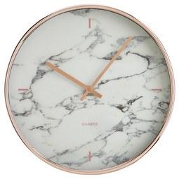 Uhr Priya in Grau/Weiss ca.Ø30,4cm - Weiß/Grau, MODERN, Glas/Kunststoff (30,4cm) - Bessagi Home