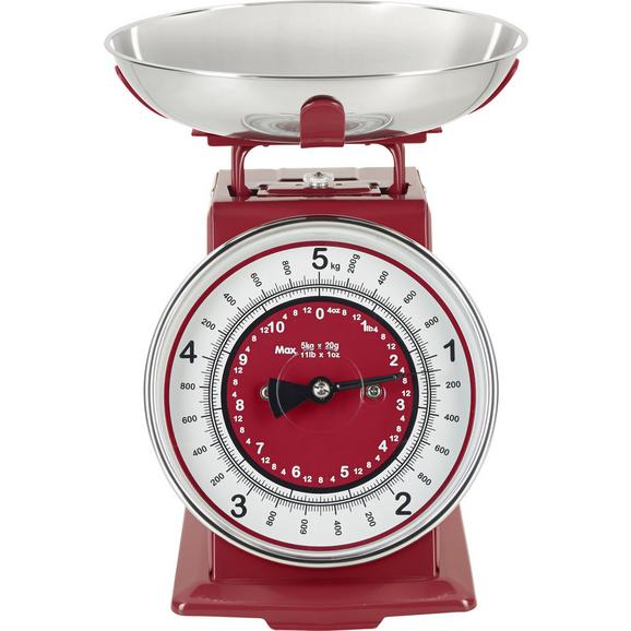 Cântar De Bucătărie Retro - alb/roșu, metal (20,5/20,5/25,5cm) - Modern Living