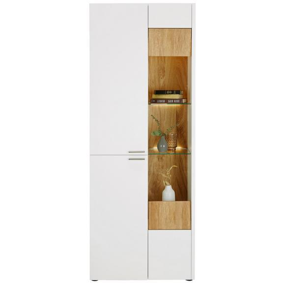 Vitrine aus Eiche massiv - Edelstahlfarben/Eichefarben, MODERN, Holz/Holzwerkstoff (73/201/40cm) - Premium Living