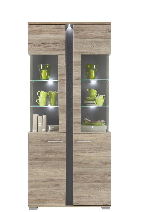 Vitrine Eiche - Silberfarben, MODERN, Holz/Kunststoff (90/204/38cm) - PREMIUM LIVING