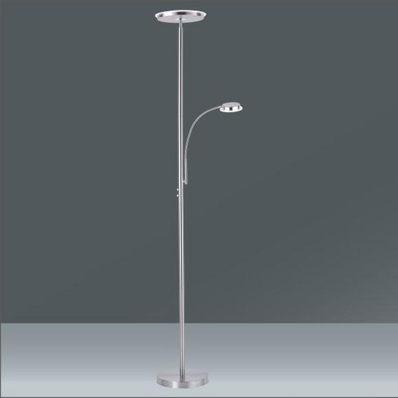 LED-Stehleuchte Hans in Nickel, max. 22 Watt - Nickelfarben, KONVENTIONELL, Metall (30/30/181cm)