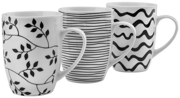 Kaffeebecher Marvi Verschiedene Designs - Schwarz/Weiß, Keramik (8,3/10,5cm) - Mömax modern living
