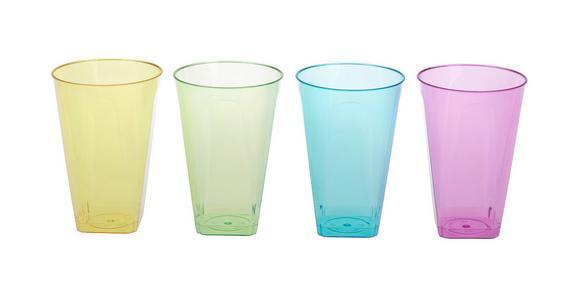 Trinkglas Lucia in versch. Farben - Blau/Pink, Kunststoff (7,5/15,5cm)