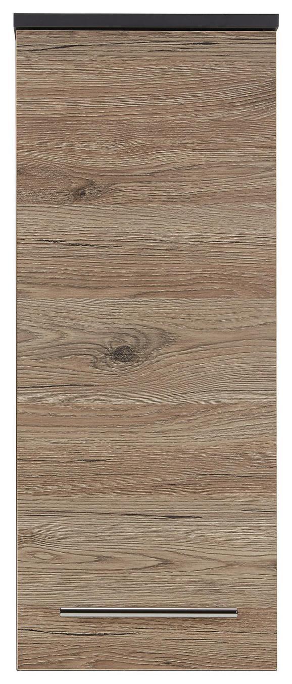 Oberschrank Eiche/Anthrazit - Chromfarben/Eichefarben, MODERN, Holzwerkstoff/Metall (30/75/21cm)