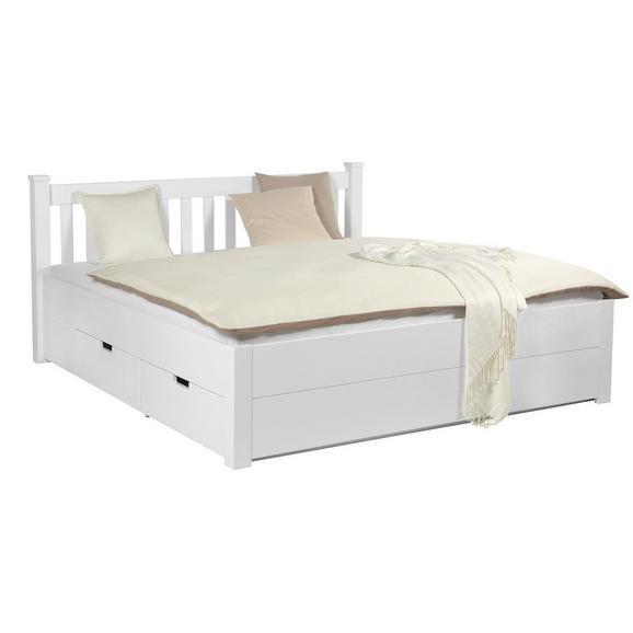 Bett in Weiß ca. 160x200cm - Weiß, ROMANTIK / LANDHAUS, Holz/Holzwerkstoff (160/200cm) - Zandiara