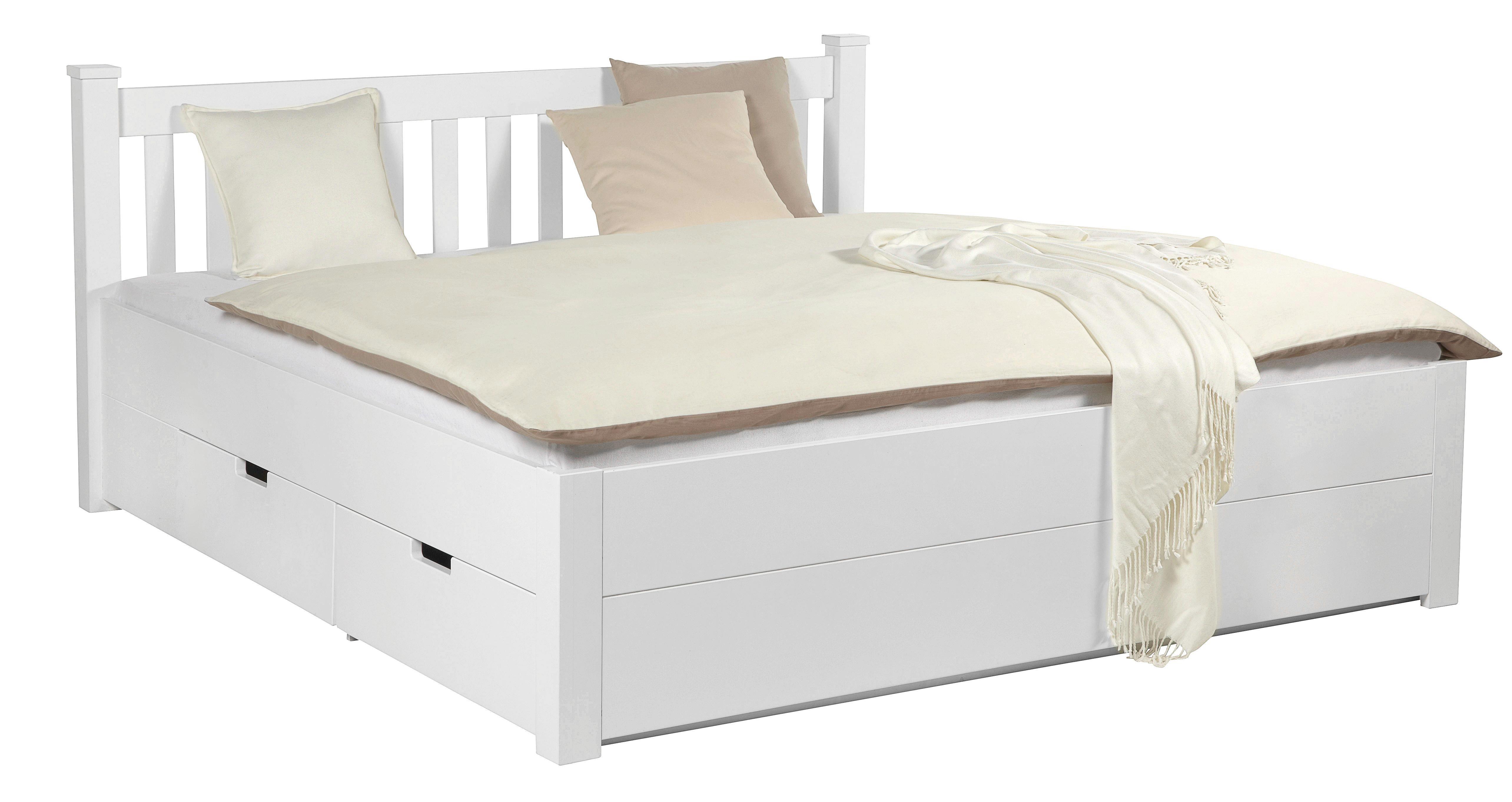 Bett in Weiß, ca. 180x200cm - Weiß, ROMANTIK / LANDHAUS, Holz/Holzwerkstoff (191/92/211cm) - ZANDIARA