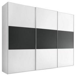 Schwebetürenschrank Includo B:298cm Weiß/ Vulkan Dekor - Anthrazit/Alufarben, MODERN, Holzwerkstoff/Metall (298/222/68cm) - Bessagi Home