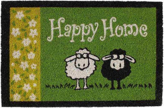 Fußmatte Happy Home, ca. 40x60cm - Grün, Textil (40/60cm) - Mömax modern living