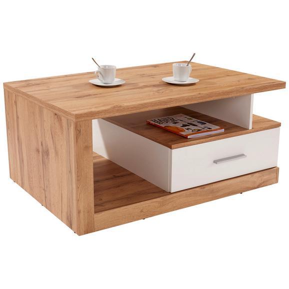 Măsuță De Canapea Iguan - alb/culoare lemn stejar, Modern, compozit lemnos (110/45/67cm)