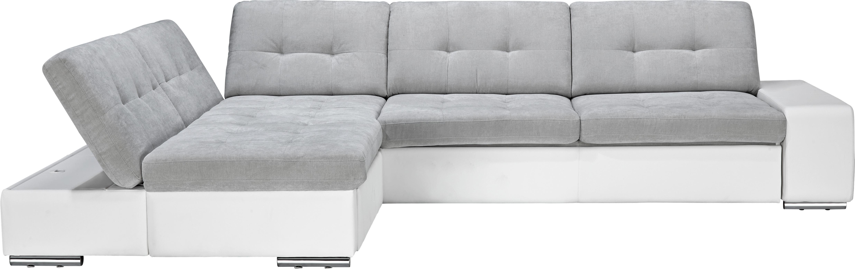 Wohnlandschaft Grau mit Bettfunktion - Chromfarben/Weiß, MODERN, Kunststoff/Metall (200/98/310cm) - BASED