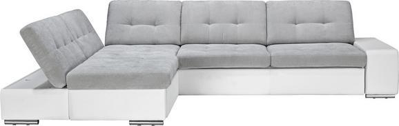 Wohnlandschaft in Grau/Weiß mit Bettfunktion - Chromfarben/Weiß, MODERN, Kunststoff/Metall (200/310cm) - Based