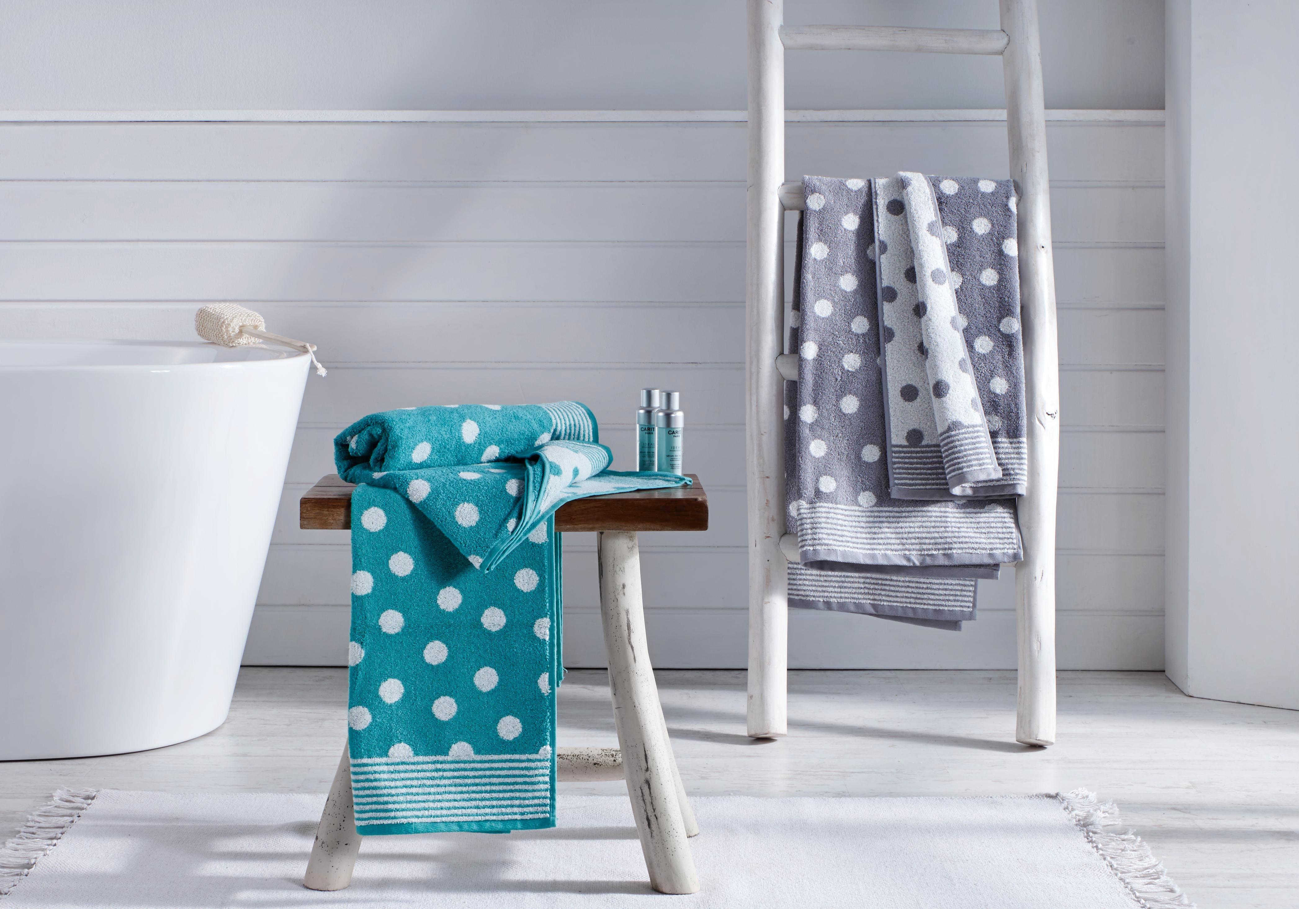 Duschtuch Dyckhoff Dots 70x140cm - Weiß/Grau, KONVENTIONELL, Textil (70x140cm) - DYCKHOFF
