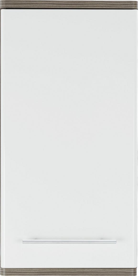 Oberschrank Weiß/Braun - Dunkelbraun/Alufarben, KONVENTIONELL, Holzwerkstoff/Metall (40 78 22cm) - Premium Living