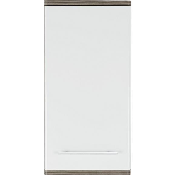 Oberschrank Weiß/Braun - Dunkelbraun/Alufarben, KONVENTIONELL, Holzwerkstoff/Metall (40/78/22cm) - Premium Living