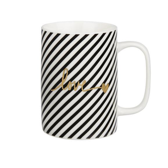 Kaffeebecher Gloria in Weiß/Schwarz - Goldfarben/Schwarz, MODERN, Keramik (7,9/10,8cm) - Mömax modern living