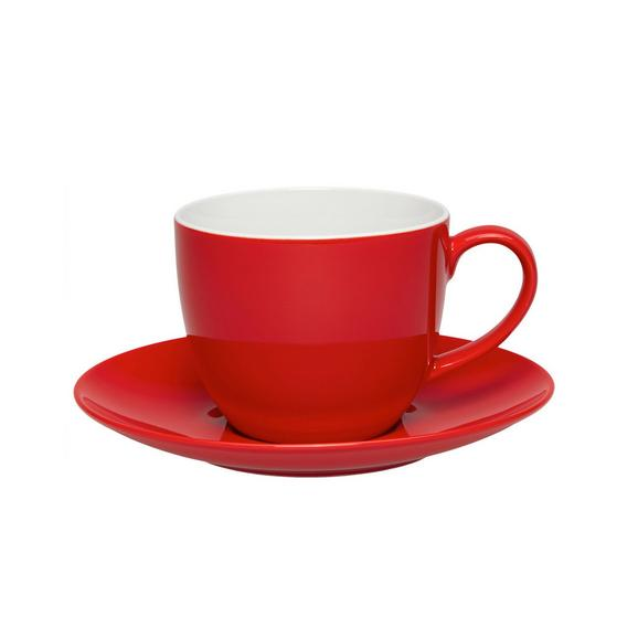 Kaffeetasse mit Untertasse Sandy in Rot aus Keramik - Rot, KONVENTIONELL, Keramik (5/6,9cm) - MÖMAX modern living