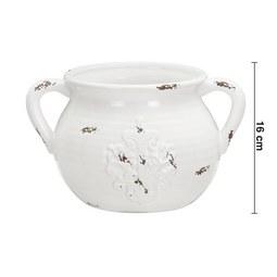 Dekokrug in Weiß H ca. 16 cm 'Euphoria' - Weiß, ROMANTIK / LANDHAUS, Keramik (27,5/21/16cm) - Bessagi Home