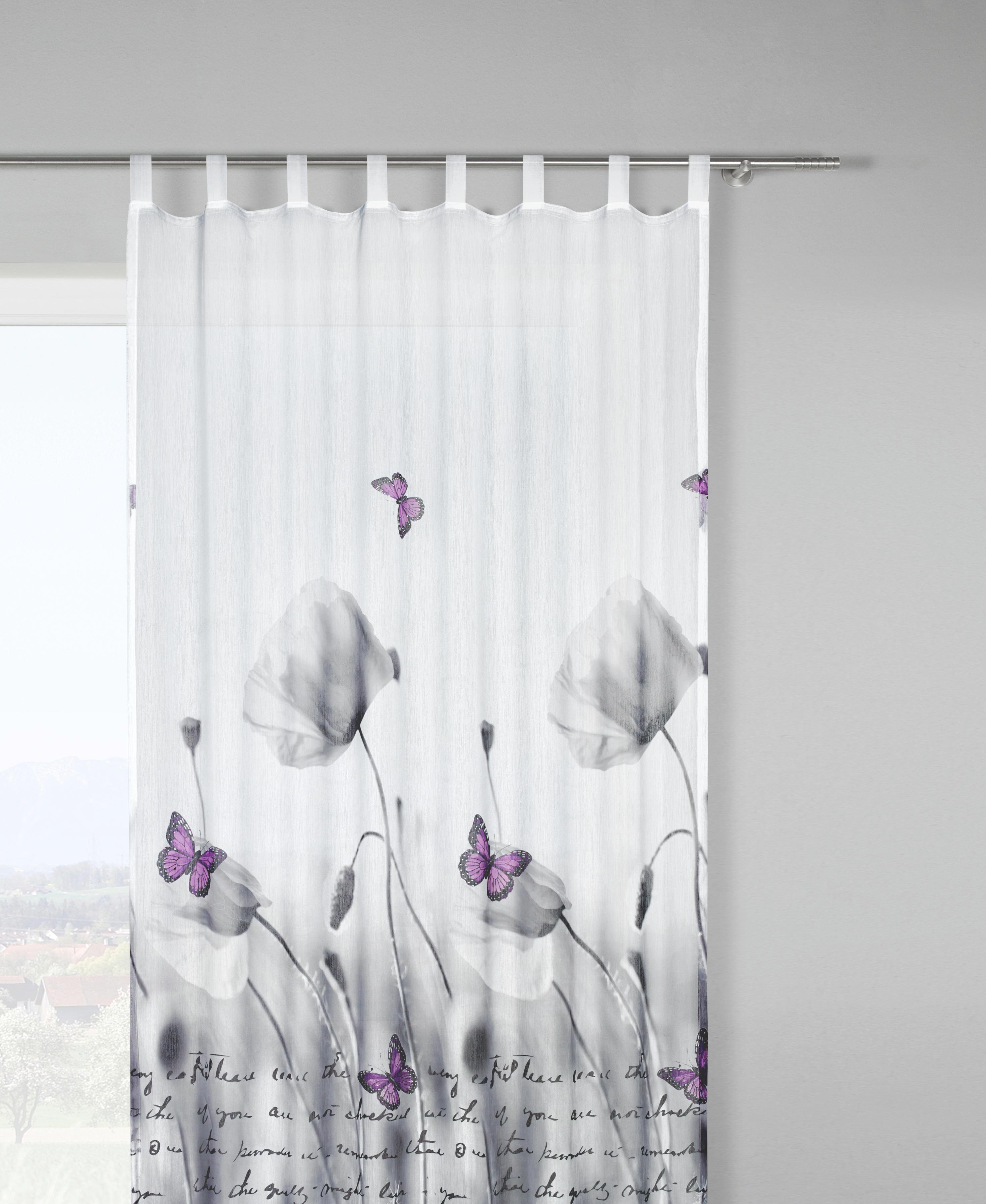 Készfüggöny Poppy - fehér/szürke, romantikus/Landhaus, textil (135/245cm) - MÖMAX modern living