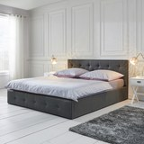 Bett Julie ca.180x200cm - Dunkelgrau, MODERN, Holz/Textil (214/190/96cm) - Mömax modern living