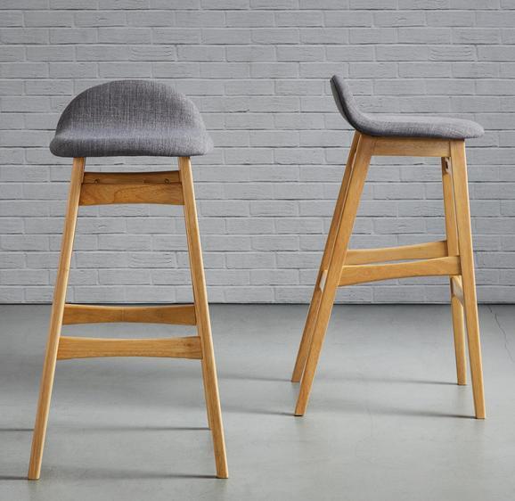 Barhocker Enzo - Grau, MODERN, Holz/Textil (47/88/51cm) - Mömax modern living