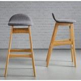 Barhocker Enzo - Hellbraun/Grau, MODERN, Holz/Textil (47/88/51cm) - MÖMAX modern living