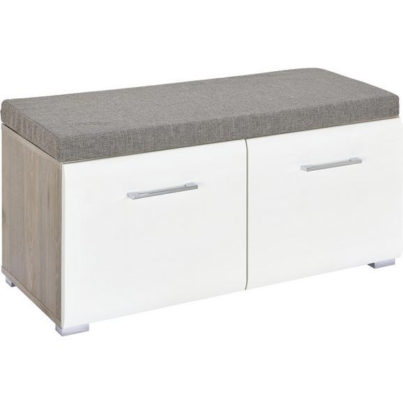 Garderobenbank in Weiß/Silbereichenfarben - Chromfarben/Silberfarben, MODERN, Holz/Kunststoff (85/38/38cm) - Premium Living