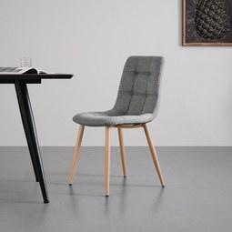 STUHL in grau 'Melia' - Eichefarben/Grau, MODERN, Textil/Metall (45/85/55cm) - Bessagi Home