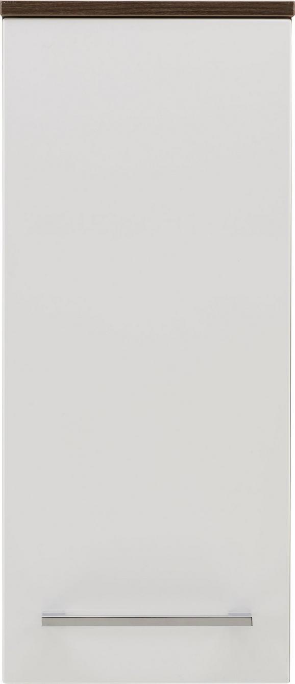 Oberschrank in Weiß/Walnussfarben - Chromfarben/Walnussfarben, MODERN, Glas/Holzwerkstoff (31/71/16cm) - PREMIUM LIVING