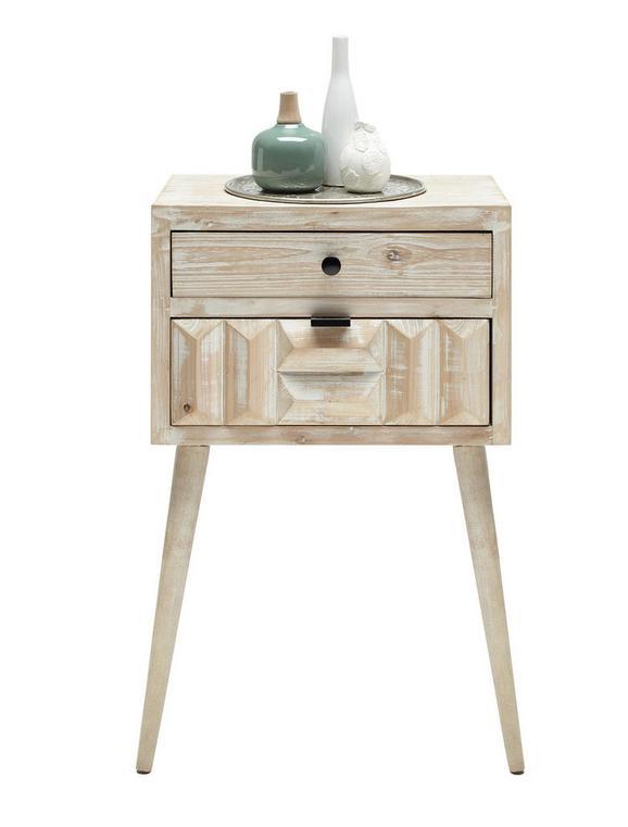 Nachtkästchen in Weiß aus Tannenholz - Schwarz/Weiß, LIFESTYLE, Holz/Holzwerkstoff (46,3/70/30,5cm) - Mömax modern living
