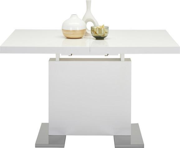Esstisch Weiß/chrom Hochglanz - Chromfarben/Weiß, MODERN, Holzwerkstoff/Metall (120-160/76/80cm) - Premium Living