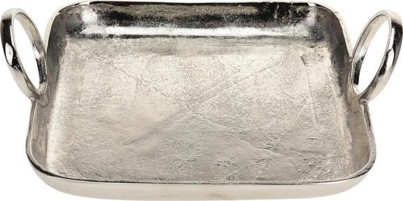 Dekotablett Tina Silber - Silberfarben, MODERN, Metall (31/25/7,8cm)