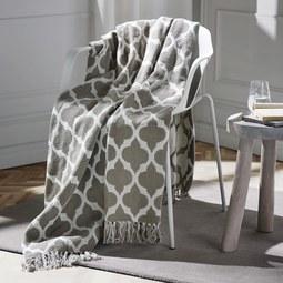 Baumwolldecke Ornament 130x170cm - Naturfarben/Weiß, MODERN, Textil (130/170cm) - Mömax modern living