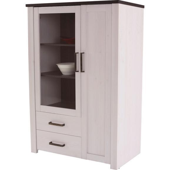 Vitrina Provence - bijela/prozirno, Romantik / Landhaus, drvni materijal/metal (103,5/142,2/42cm) - Modern Living
