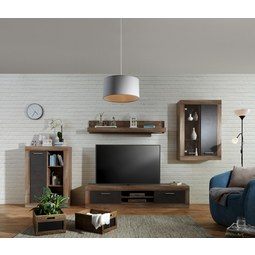 Wohnwand Grau/Kieferfarben   Dunkelgrau/Schwarz, MODERN,  Holzwerkstoff/Kunststoff (298