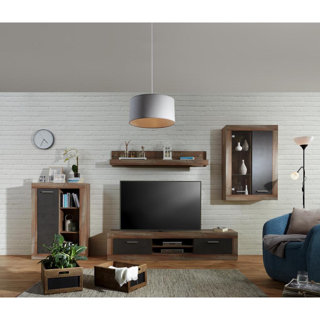 Wohnwand Grau/Kieferfarben