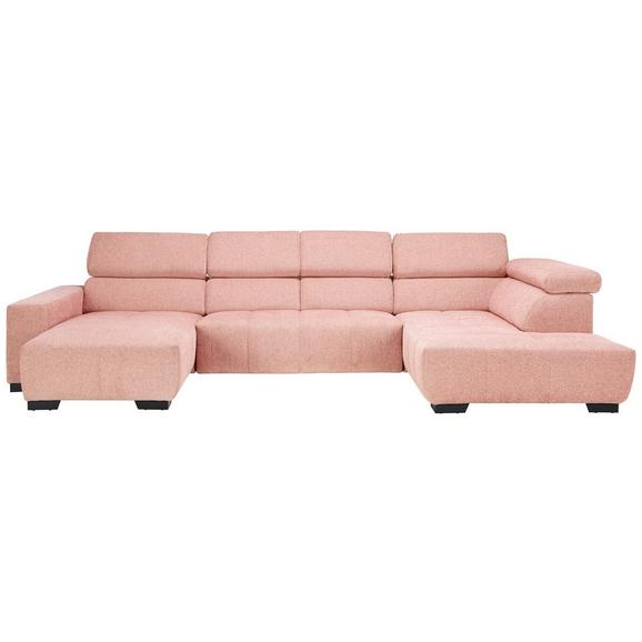 Sitzgarnitur in Rosa - Schwarz/Rosa, KONVENTIONELL, Textil (198/359/207cm) - Modern Living