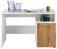 Schreibtisch Weiß/Eichefarben - Eichefarben/Alufarben, MODERN, Holzwerkstoff/Kunststoff (118/75/66cm)