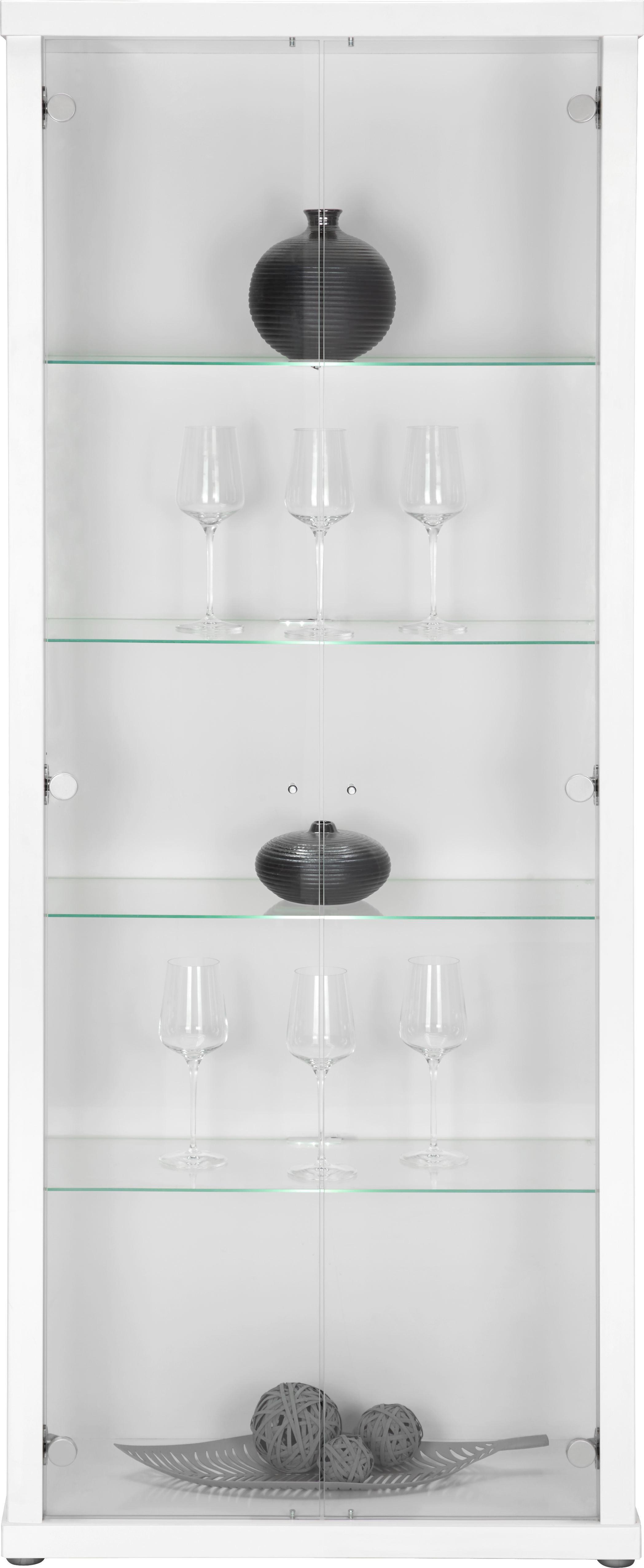 Vitrine in Weiß - Alufarben/Weiß, Glas/Holzwerkstoff (70/178/30cm) - MÖMAX modern living