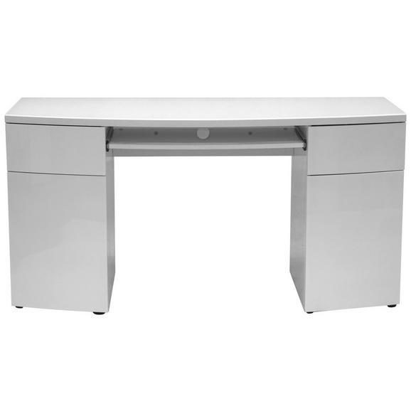 Schreibtisch in Weiß - Weiß, MODERN, Glas/Holzwerkstoff (150/76/60cm) - Modern Living