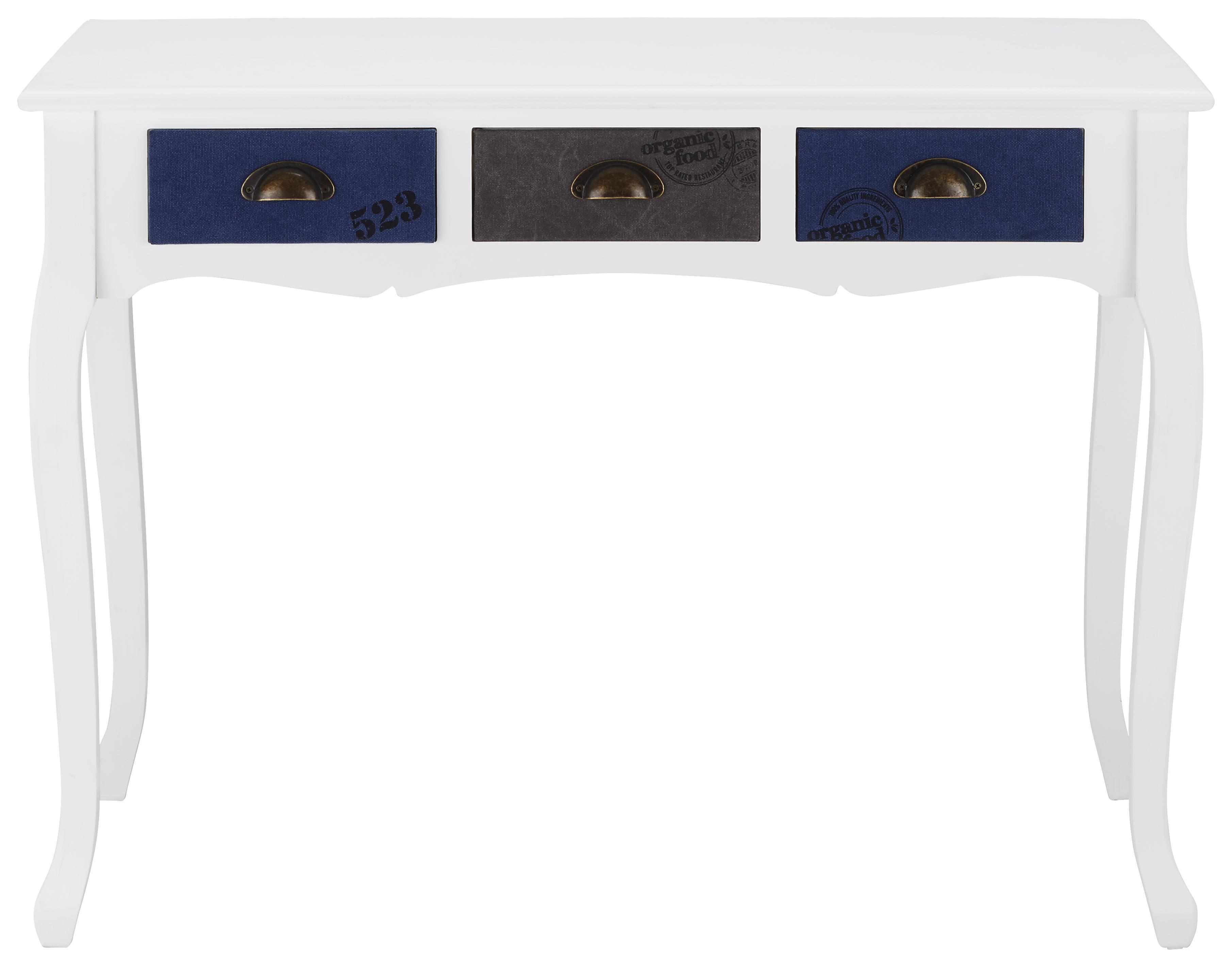 Schreibtisch Grau/Weiß/dunkelblau   Bronzefarben/Dunkelblau, ROMANTIK /  LANDHAUS, Holz