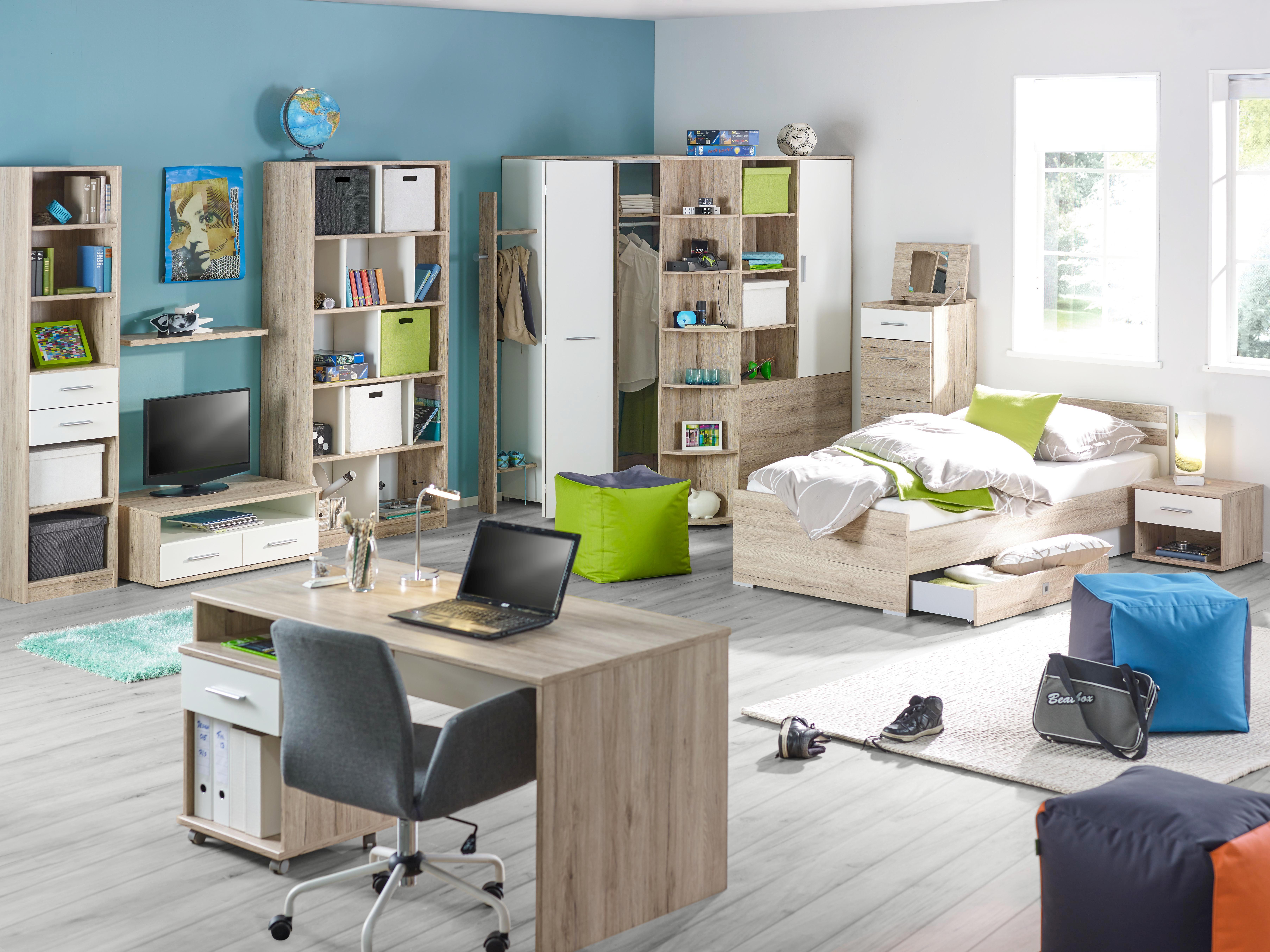 Bettschubkasten in Weiß/Eiche - Eichefarben/Weiß, Holz/Holzwerkstoff (100/16/60cm) - MODERN LIVING